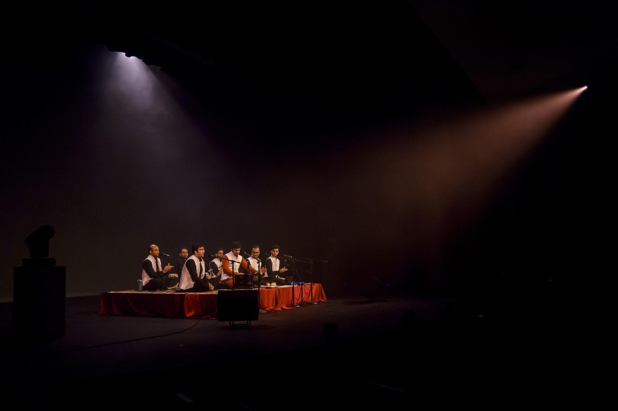Qawwali artists performing in arts center