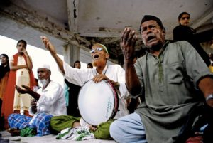 Muslim men singing