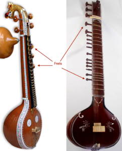 frets in veena and sitar and not in tanpura